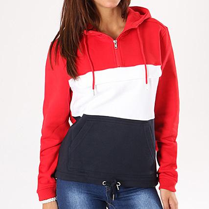 6d9cc7609788 Urban Classics - Sweat Capuche Femme TB1988 Rouge Blanc Bleu Marine -  LaBoutiqueOfficielle.com