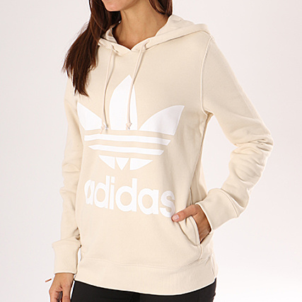 Beige Sweat Blanc Adidas Trefoil Ce2414 Capuche Femme N0wmv8n