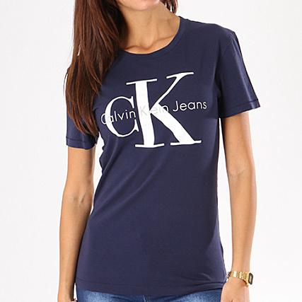 Shrunken Marine Shirt Klein Tee Femme Calvin Bleu TZkXiOPu