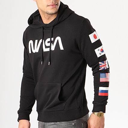 nasa sweat capuche flags bordeau