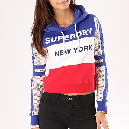 Superdry Roi Sweat Rouge Mesh Capuche Blanc Bleu Sleeve Femme Crop rrAqZ