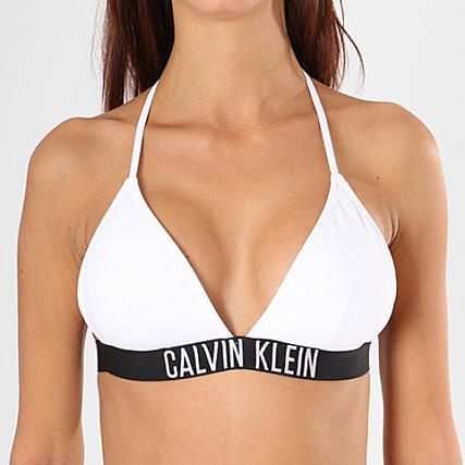 293e751037 Calvin Klein - Haut De Maillot De Bain Femme Fixed Triangle KW0KW00200  Blanc Noir - LaBoutiqueOfficielle.com