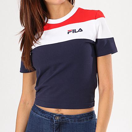 on feet shots of promo codes fresh styles Fila - Tee Shirt Crop Femme Maya 684301 Bleu Marine Blanc ...