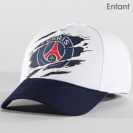 nouveaux styles 5faec 90aec PSG - Casquette Enfant Griffe Paris Saint Germain Blanc Bleu ...
