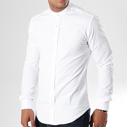 1d743a643e4 LBO - Chemise Manches Longues Col Mao Slim Fit 404 Blanc -  LaBoutiqueOfficielle.com