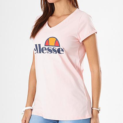 Ellesse Tee Shirt Femme Uni Col V Rose