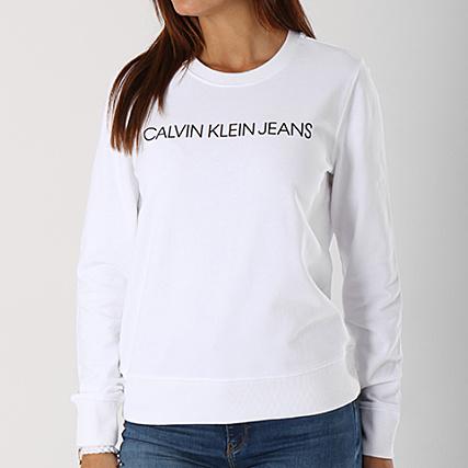 2018 sneakers detailed look detailing Calvin Klein - Sweat Crewneck Femme Institutional Logo 7827 ...