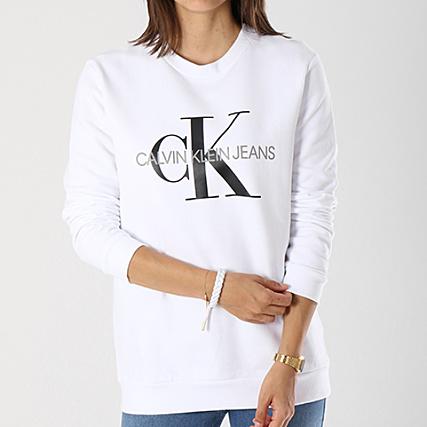 info for run shoes great prices Calvin Klein - Sweat Crewneck Oversize Femme Monogram Logo ...
