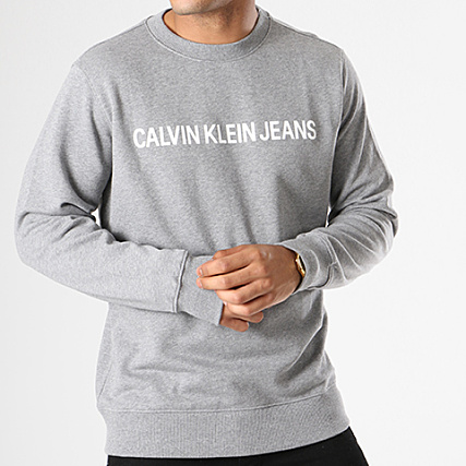 7757 Institutional Basic Klein Gris Calvin Logo Sweat Crewneck YwSBqHHxa
