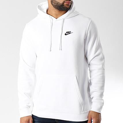 Nike Sweat Capuche Club Fleece 804346 100 Blanc