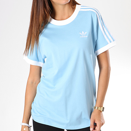 running shoes shoes for cheap exquisite design adidas - Tee Shirt Femme 3 Stripes DH3146 Bleu Clair ...