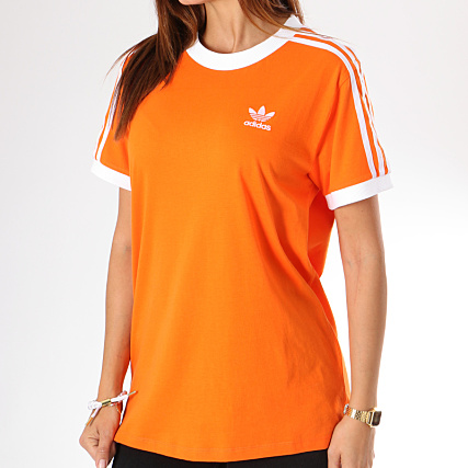 ed4a0f0c22b0 adidas - Tee Shirt Femme 3 Stripes DH3143 Orange ...