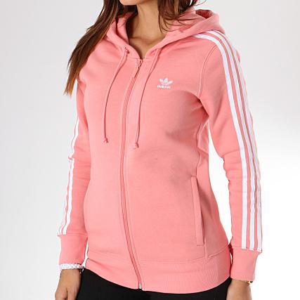 adidas - Sweat Zippé Capuche Femme 3 Stripes DN8150 Rose ...