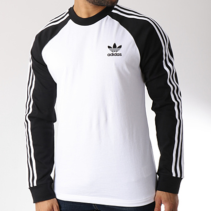 adidas Tee Shirt Manches Longues Bandes Brodées 3 Stripes
