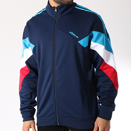 veste adidas avec les bande bleu