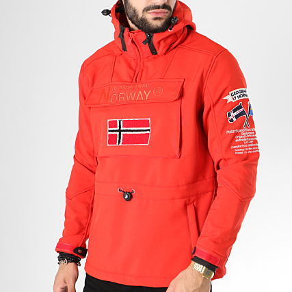 Veste Brodés Capuche Norway Patchs Target Geographical Rouge 5wvqp