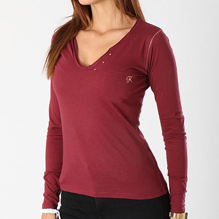 c908b7eab1ff9 Kaporal - Tee Shirt Manches Longues Poche Femme Tanio Bordeaux ...