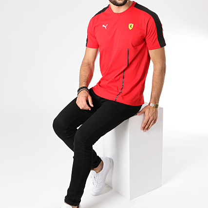 Puma Tee Shirt Avec Bande T7 Ferrari 576702 Rouge Noir
