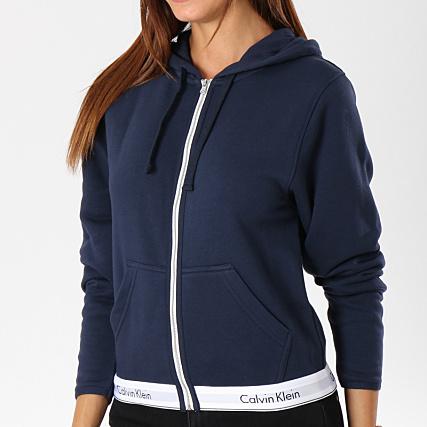 Calvin Klein Sweat Zippé Capuche Femme QS5667E Bleu Marine