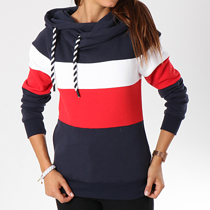 aca22ad94a5 Home   Only   Sweats - Pulls   Sweats Capuche   Only - Sweat Capuche Femme  Alene Block Bleu Marine Blanc Rouge