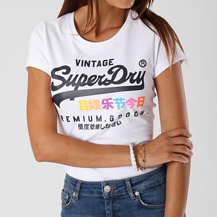 Superdry Tee Shirt Femme Premium Goods Puff Entry Blanc