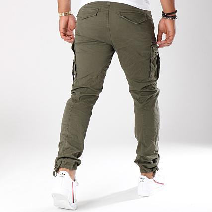 style attrayant bon out x photos officielles Jack And Jones - Pantalon Cargo Drake Chop Vert Kaki ...