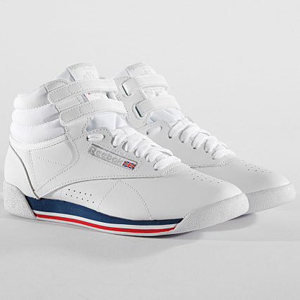 4c922ea846b0 Reebok - Baskets Femme Freestyle Hi CN2964 Retro White Bunker Blue Primal  Red - LaBoutiqueOfficielle.com