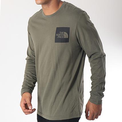 567c9e0c8d1d3 The North Face - Tee Shirt Manches Longues Fine Vert Kaki Noir -  LaBoutiqueOfficielle.com