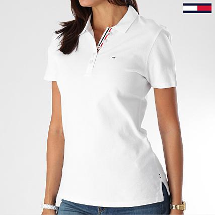 03ce7ed7b Tommy Hilfiger Jeans - Polo Manches Courtes Femme Original Basic 4434 Blanc  - LaBoutiqueOfficielle.com