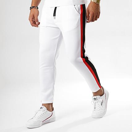 site réputé 3e6dc 1088a Aarhon - Pantalon Avec Bandes 18-239 Blanc Noir Rouge ...