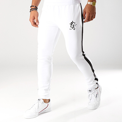 5027e96d09 Gym King - Pantalon Jogging Avec Bandes Ellis Poly Blanc Noir -  LaBoutiqueOfficielle.com