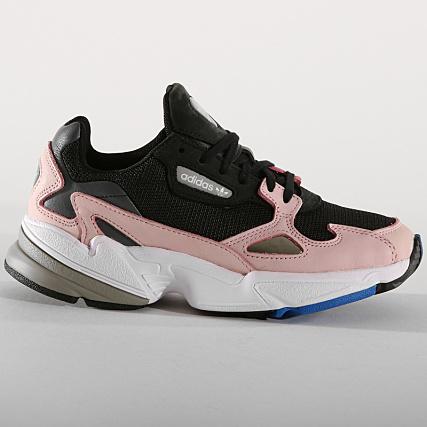 Home   adidas   Baskets - Chaussures   Baskets Basses   adidas - Baskets  Femme Falcon B28126 Core Black Light Pink d9952cab4fe4