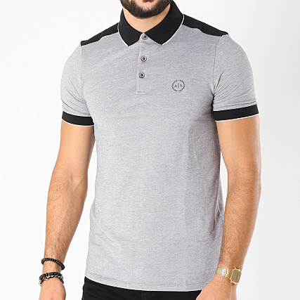 d41482444e Armani Exchange - Polo Manches Courtes 8NZF76-Z8M5Z Gris Chiné -  LaBoutiqueOfficielle.com