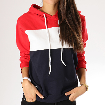eb82ad38d0a Girls Only - Sweat Capuche Femme 2427 Bleu Marine Blanc Rouge -  LaBoutiqueOfficielle.com