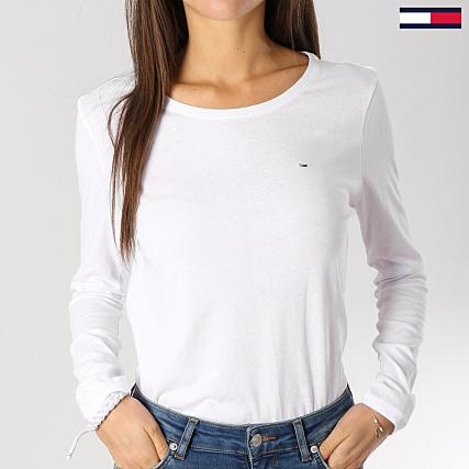 70eb79d81e4ba Tommy Hilfiger Jeans - Tee Shirt Manches Longues Femme Soft Jersey Blanc -  LaBoutiqueOfficielle.com