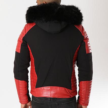 105 Noir Mtx Blouson Fourrure Rouge AqtPE
