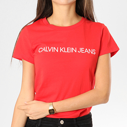 df82a8139eb4 Calvin Klein - Tee Shirt Femme Institutional Logo Slim Rouge -  LaBoutiqueOfficielle.com