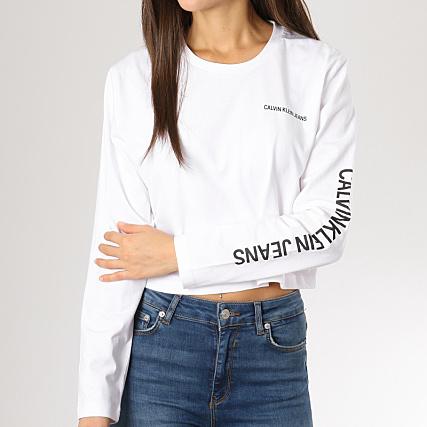 Tee Femme Longues Shirt Calvin Crop Manches Sleeve Klein uTOXiwkZP