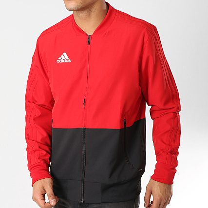 8cdd49c12f9 Veste Pre Con18 Adidas Jacket Noir Cf4308 Rouge Zippée zGLVpqSUM