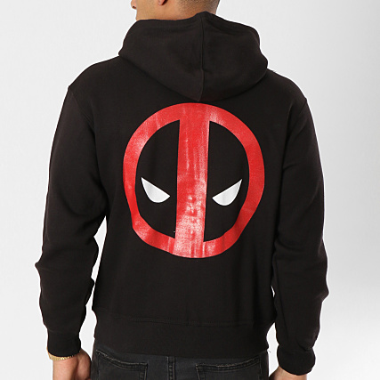 Logo Sweat Capuche Deadpool Noir Zippé Ot60Annqwv