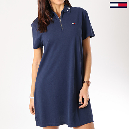 1a52939fc214be Tommy Hilfiger Jeans - Robe Polo Femme Collar Detail 5666 Bleu ...
