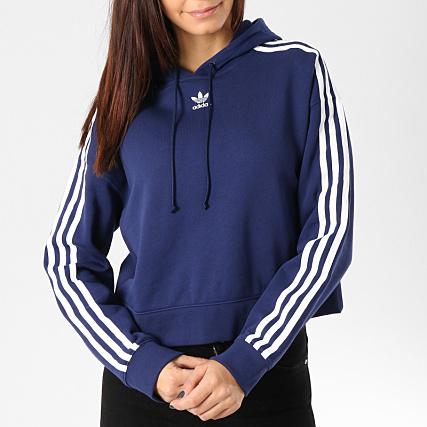 the best attitude b77ae 83e14 adidas - Sweat Capuche Femme Crop DX2160 Bleu Marine Blanc -  LaBoutiqueOfficielle.com