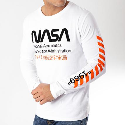 ce441020b48 NASA - Tee Shirt Manches Longues Admin Blanc Noir - LaBoutiqueOfficielle.com