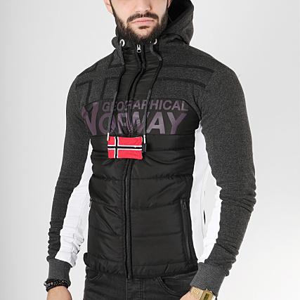 Zippé Chiné Sweat Gumix Capuche Noir Geographical Norway 8vwUB8R