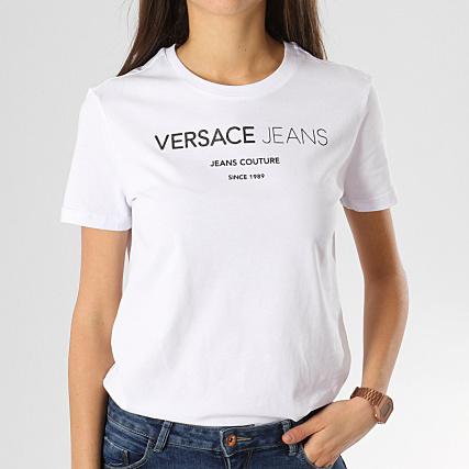 6b69d3203c4 Versace Jeans - Tee Shirt Femme B2HTA7S9-36257 Blanc Noir -  LaBoutiqueOfficielle.com