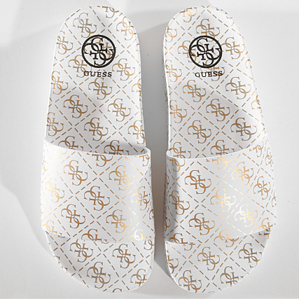 e2bee19e08f4 Home   Guess   Baskets - Chaussures   Claquettes - Sandales   Guess - Claquettes  Femme FL6SAVRUB19 White Gold
