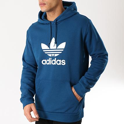 bonne qualité original à chaud nouveaux produits chauds adidas - Sweat Capuche Trefoil DV1504 Bleu Ciel Blanc ...