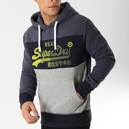 Sweat a capuche superdry homme vintage logo 1st panel bleu marine chiné gris chiné