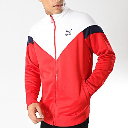 Puma - Veste Zippée Iconic 577980 Rouge Blanc