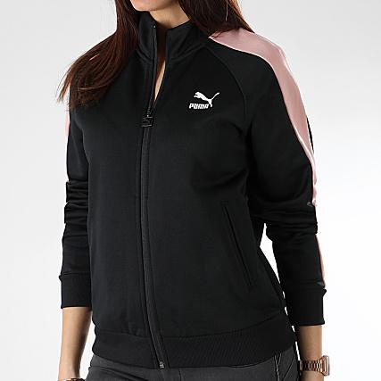 Puma Veste Zippée Femme Avec Bandes T7 578205 51 Noir Rose